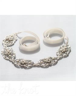 Headband features freshwater pearls, vintage filigree, ribbon and Swarovski crystals.