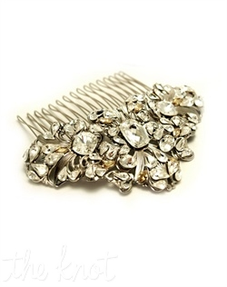 Rhodium-plated comb features Swarovski crystals, pearls and golden shadow. Various colors available.