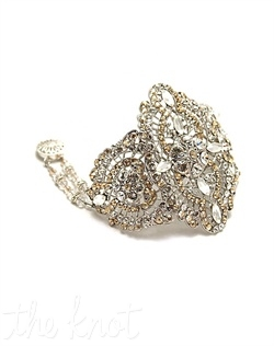 Rhodium-plated bracelet features filigree, Swarovski crystals, and pearls. Various colors available. Custom sizing available.
