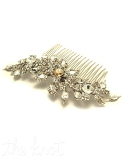 Rhodium-plated comb features Swarovski crystals, pearls, and flower cascade. Crystals and pearls available in various colors.