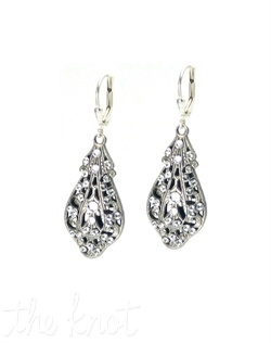 Double-sided rhodium-plated earrings feature Swarovski crystals and pearls. Crystals and pearls available in various colors.