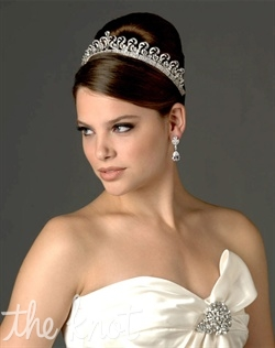 Rhodium-plated tiara features cubic zirconias.