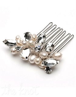 Comb features freshwater pearls and rhinestones. Available in silver or gold.