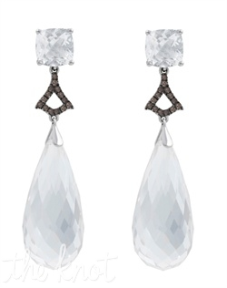 "From the Statement Chic Collection, these sterling silver earrings feature cushion shaped white topaz, smokey quartz and white quartz drop. 1-5/8"" L"