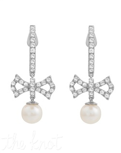 "From the Soft and Sophisticated Collection, these sterling silver earrings feature 6mm freshwater pearl drop and white topaz. 1-1/8"" L"