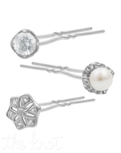 "From The New Classics Collection, these stainless steel hair pins feature sterling silver, freshwater pearls and white topaz. 2"" L"