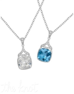 "From The Statement Chic Collection, this sterling silver pendant features either white quartz with white topaz or blue topaz with white topaz. Chain is 18"", pendant has 1"" drop and is 3/8"" wide"