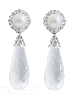 "From The Statement Chic Collection, these sterling silver earrings feature 6mm freshwater pearls, white topaz and white quartz drop. 1-3/8"" L"