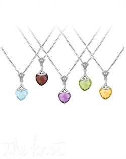 "From The Be-Loved Collection, this sterling silver pendant features gemstone heart and white topaz.  Chain is 18"", heart is 3/4"" and 3/8"" W. Available in amethyst, blue topaz, peridot, citrine or garnet."