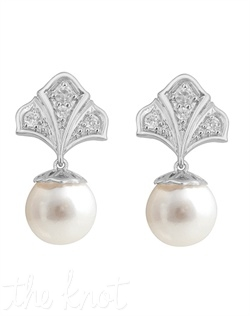 "From The Modern Deco Collection, these sterling silver earrings feature 9mm freshwater pearls and white topaz. 3/4"" L"