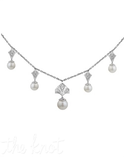 From The Modern Deco Collection, this sterling silver necklace features graduated freshwater pearls and white topaz. Pearls are 9mm, 7mm and 6mm. Chain is 18""