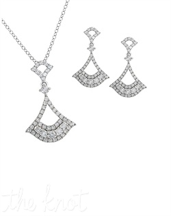"From The Petal Perfect Collection, these sterling silver earrings and pendant feature white topaz. Earrings are 1-1/8"" L, chain is 18"", pendant is 1-1/4"" L"