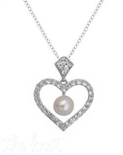 "From The Be-Loved Collection, this sterling silver pendant features 6mm freshwater pearl and white topaz pave heart. Heart is 7/8"" x 3/4"", chain is 18"""