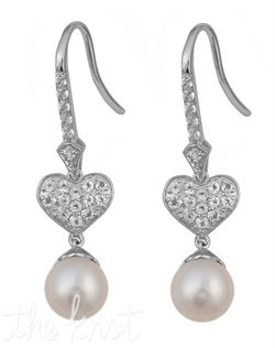 "From the Be-Loved Collection, these sterling silver earrings feature 7mm freshwater pearls and white topaz pave heart. 1-3/8"" L"