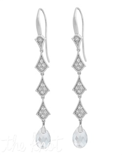"From The Timeless Glamour Collection, these sterling silver earrings feature white topaz and white quartz. 2-1/4"" L"