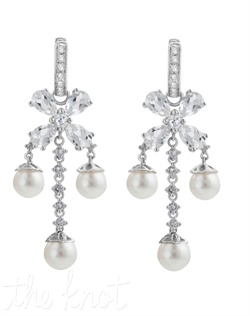 "From The Statement Chic Collection, these sterling silver earrings feature 6mm freshwater pearls and white topaz. 1-3/4"" L"