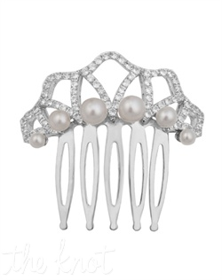 "From the Vintage Elegance Collection, this stainless steel comb features sterling silver, six graduated freshwater pearls and white topaz. 1-1/2"" W"