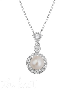 "From The New Classics Collection, this sterling silver pendant features 6mm freshwater pearl and white topaz pave frame. Pendant is 3"", chain is 18"""