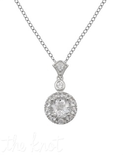 "From The New Classics Collection, this sterling silver pendant features white topaz center and pave frame. Pendant is 3/8"", chain is 18"""