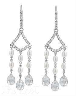 "From The Romantics Collection, these sterling silver earrings feature three strands of 4x3mm oval pearls, each finishing with a white quartz drop. 2-1/2"" L"