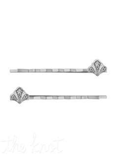 From the Modern Deco collection, this stainless steel bobby pin set of two features sterling silver and white topaz set in deco motif.