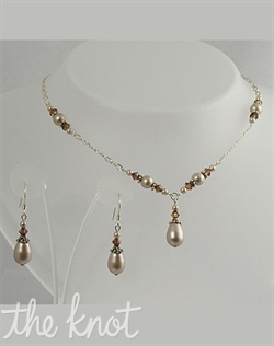 Sterling silver or 14k gold filled necklace and earrings set features Swarovski crystals and pearls. Various colors available. Adjustable