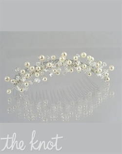 "Silver or gold colored tiara/comb features Swarovski crystals and pearls. Various colors available. 3-1/4"" comb"