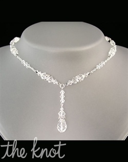 Sterling silver or 14k gold filled necklace features Swarovski crystals. Various colors available. Adjustable