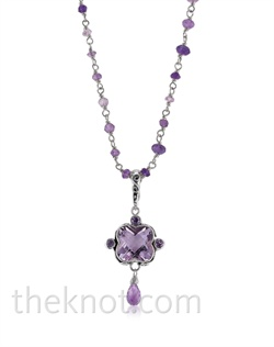 Sterling silver necklace features beaded chain and Rose de France amethyst. Matching earrings available.