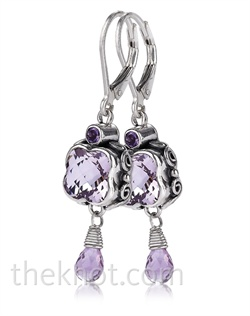 Sterling silver earrings feature Rose de France amethyst. Matching pendant available.