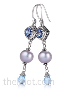 Sterling silver earrings feature Iolite topaz, blue topaz and grey freshwater pearls. Matching pendant and bracelet available.