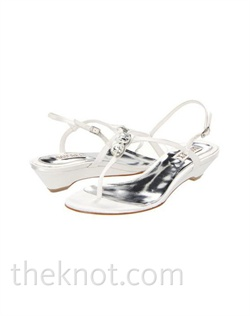 "White or blush silk satin sandal features clear crystals and 1/2"" wedge heel. Sizes 6-10"