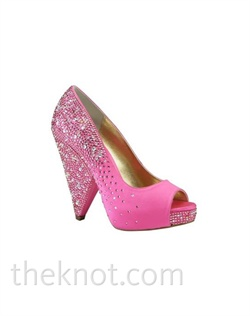 "Pink silk platform pump features Swarovski crystals and 4-1/4"" cone heel. Sizes 5-9-1/2"