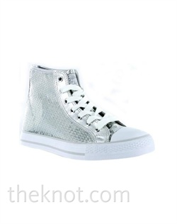 Silver high-top sneaker features sequins. Sizes 5-1/2 - 10