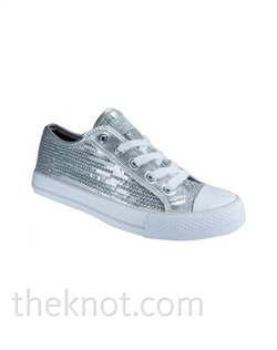 Pink or silver sneaker features sequins. Sizes 5-1/2 - 10