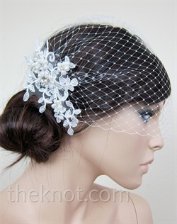 Blusher veil features Alencon lace, french net, imitation pearls and rhinestones. 9&quot;