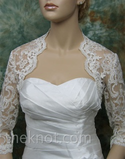 Bolero features Alencon lace. Available in ivory, white or black. Small, medium, large or extra large sizes available.