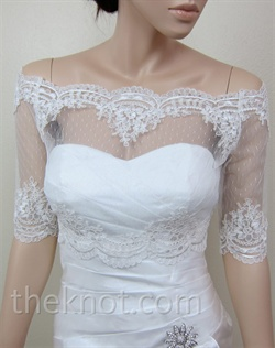 Bolero features Alencon lace. Available in black or ivory. Small, medium, large, or extra large sizes available.