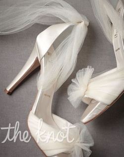 Ivory satin open-toe heels feature wispy tulle fabric and leather sole. Sizes 5-11