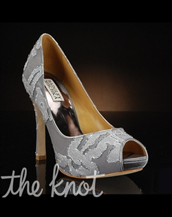 Grey peep-toe pump features silver metallic design. Also available with gold trim.
