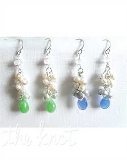 Sterling silver earrings feature opal quartz, clusters of freshwater cultured pearls and colored briolette. Available in green, blue, pink or purple.