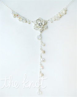 "Y-necklace features silver chain, freshwater pearls, rhinestones and Swarovski crystals. 18"" and 20"" available."