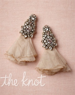 Ivory earrings feature silk taffeta, chiffon, glass crystals and brass.