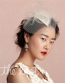 Ivory headpiece features nylon crinoline, horsehair braid, rayon tulle and Russian veiling. Fascinator is teardrop shaped.