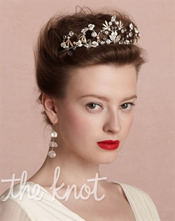 Rhodium and 14k gold-plated brass tiara features hand-enameled brass and Swarovski crystals.