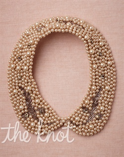 Nude colored silk collar necklace features faux pearls, crystals and glass beads.