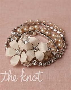 Rhodium-plated brass bracelet features hand-enameled brass, Swarovski crystals and glass pearls.