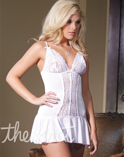 Chemise features scalloped stretch lace, adjustable straps, front lace panel detail with deep V cut and flounced hem. Panty not included.