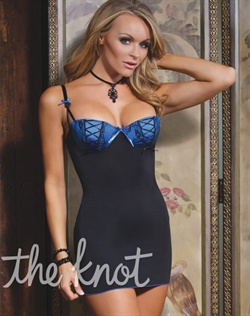 Chemise features built-in, padded under wire cups, hook and eye back closure and adjustable straps.