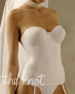 Contouring bustier features seamless, underwire, padded and boned cups, low back, clear straps, adjustable and detachable garter straps, and 3 column, 13 row hook-and-eye closure. Available in black, nude, or white. Available in band sizes 34-42 and European cup sizes B-DDD.